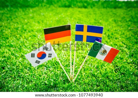 Group F - Germany, Mexico, Sweden, Korea Republic, South Korea - National Flags on green grass on football stadium #1077493940