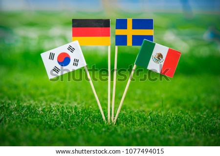 Group F - National Flags of Germany, Mexico, Sweden, Korea Republic, South Korea #1077494015