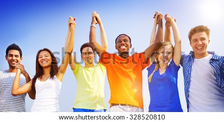 Group Friends Outdoors Celebration Winning Victory Fun Concept #328520810