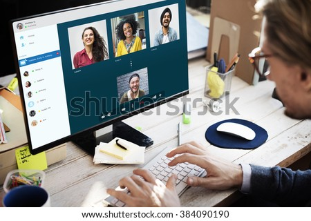 Group Friends Video Chat Connection Concept #384090190