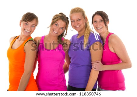 Group girls in colorful sportswear isolated over white background