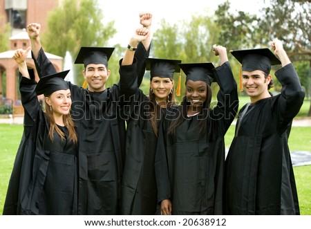group graduation of students looking very happy