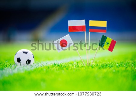 GROUP H draw in Russia 2018  - Poland, Senegal, Columbia, Japan national Flag and football ball on green grass. Fans, support photo, edit space. Original wallpaper for Football World Cup, Russia 2018 #1077530723