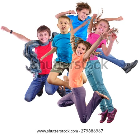 Group happy dancing jumping together children isolated over white background. Photo collage. Childhood, active lifestyle, sports and happiness concept.