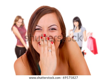 group happy young adult women shopping