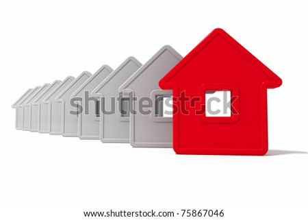 Group houses an abstract form of red and white