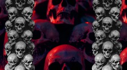 Group human skulls background texture pattern. Design with space for text.