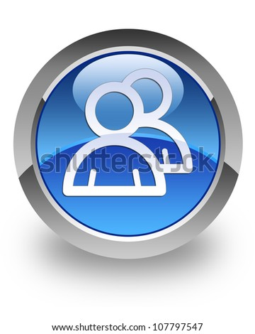 Group  icon on glossy blue round button