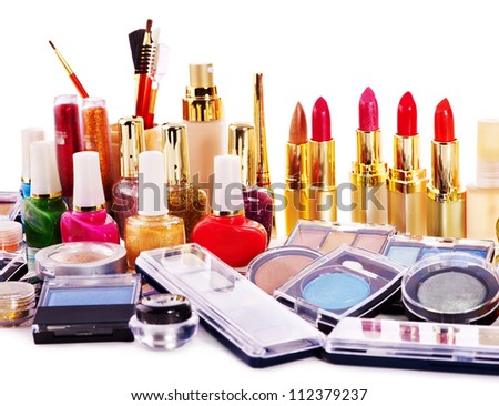 Group lipstick and decorative cosmetics . Close up.