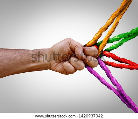 Group management concept connected as many different ropes tied and linked together as an unbreakable chain as a trust and faith metaphor for dependence and reliance.