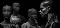 Group mannequin or dummy imitating people. Human head. Group of technology robots