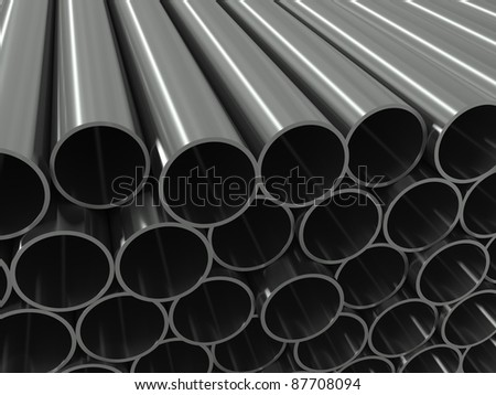 Group metal pipe on a white background