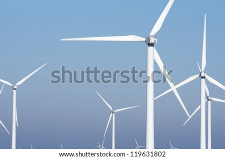group modern windmills for renewable electric energy production, La Muela, Saragossa province, Aragon, Spain