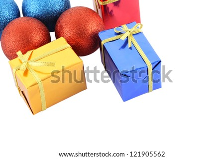 Group multiple color gift box and christmas ball on white background.