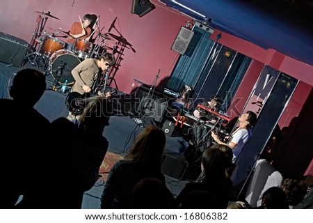 group musician on concerto in club