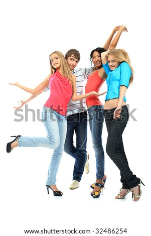 Group of a cheerful young people. Education, holidays. - stock photo