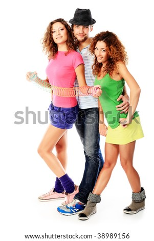 Group of a cheerful young people. Fashion, holidays.