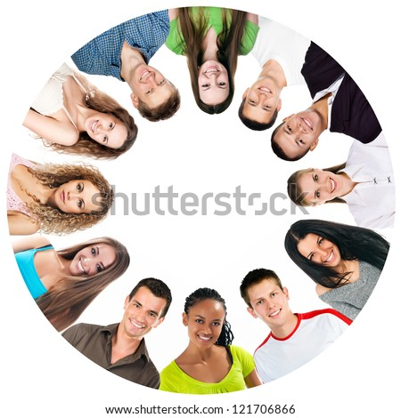 group of a happy people isolated on white background