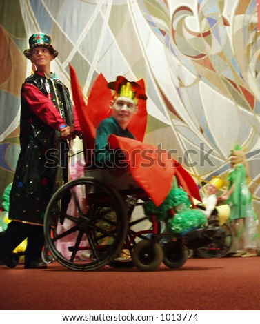 group of actors-disabled persons at their performance