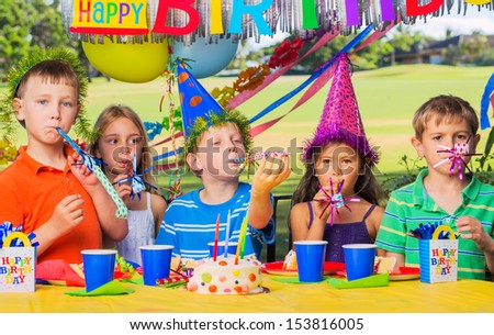 Group of adorable kids at birthday party #153816005