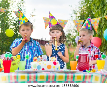 Group of adorable kids having fun at birthday party  #153852656