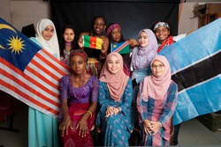 Group of African and malasian students studing at university with the African flags!