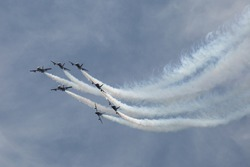 Group of airplanes make a figure in air during airshow aerobatic