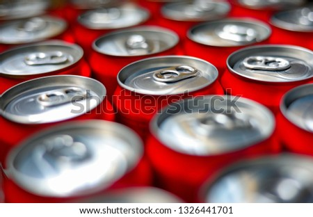 group of aluminium cans.Cover aluminum cans. Aluminum cans. Top view. Aluminum cans.