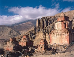 Group of ancient Chorten on the way to the village of Dhakmar, in the Nepalese Mustang