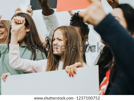 Group of angry female activists is protesting