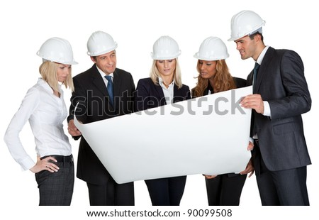 Group of architects discussing blueprint of new construction on white background