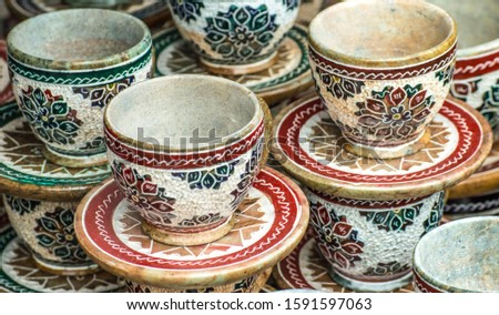 Group of Artisanal Ceramic cups and Pottery exposed to sale in Popular art Market