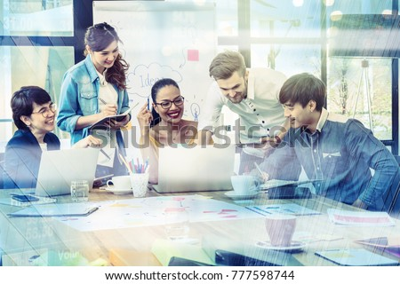 Group Of Asian and Multiethnic Business people with casual suit working and brainstorming together with technology computer in the modern Office, people business group concept