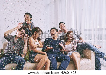 Group of Asian friends having fun at home party #426046081