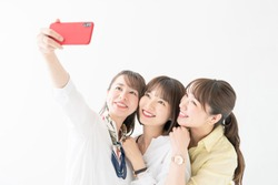 Group of asian woman taking a selfie.