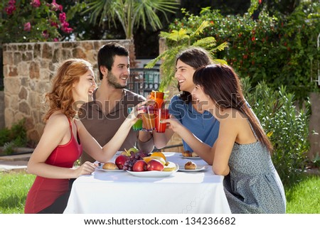 Group of attractive young friends enjoying a meal outdoors seated at a table in the garden toasting each other with their drinks