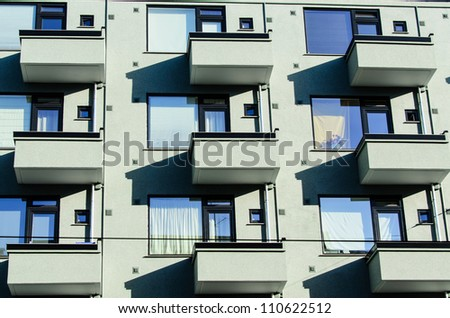 Group of balconies on modern house