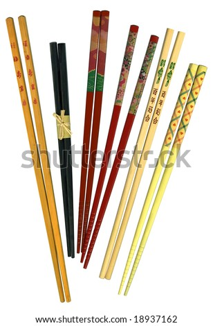 Group of bamboo chopsticks on white
