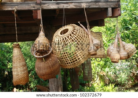group of bamboo craft tool for catch fish, Thailand style