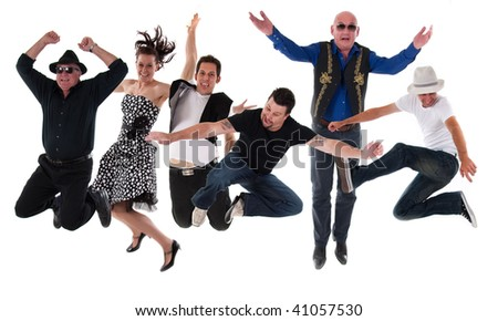 group of band members jumping - stock photo