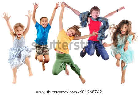 group of barefeet children shouting screaming jumping dancing. Isolated over white background. Childhood, freedom, happiness, active lifestyle concept. Young jumpers kids girls an boy #601268762