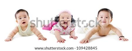 group of beautiful asian babies
