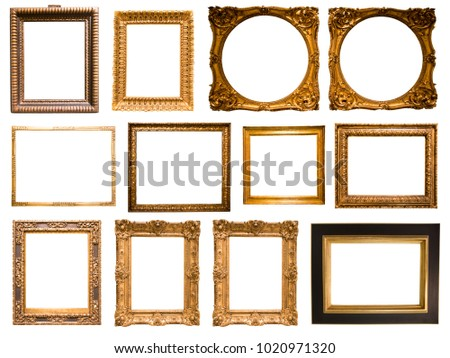 group of beautiful rectangular frame for a mirror on isolated background