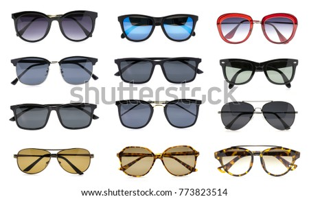 Group of beautiful sunglasses isolated on white background. Costume Fashion.