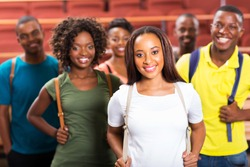 group of beautiful young afro american students