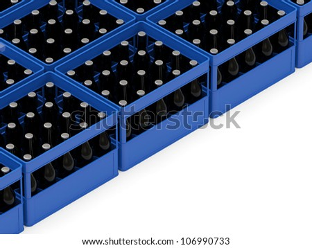 Group of Beer Crates isolated on white background with place for your text