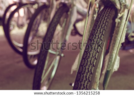 group of bicycle parked on street #1356215258