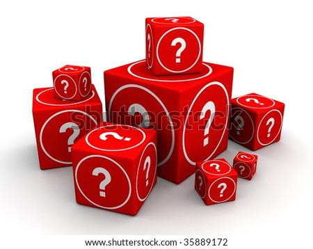 Group of big and small cube box with question mark 3d illustration