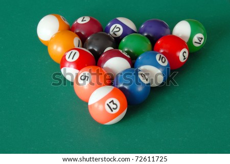 group of billiards balls on table in triangle position
