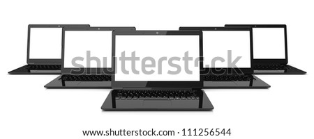 Group of black laptops isolated on white background. 3d illustration